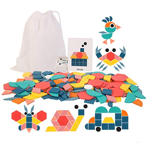 180 Pcs Wooden Pattern Blocks Puzzle, SWBONBON Geometric Shape Educational Montessori Tangram, Learning Toys Preschool Animal Jigsaw Puzzle for 3-8 Ages