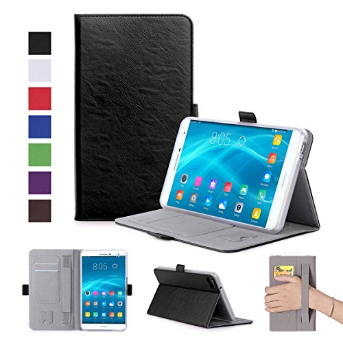 Huawei MediaPad M2 7.0 Case, Luxury Genuine Leather Case with Viewing Stand, Flip Cover Handmade for Huawei MediaPad M2 7.0 (Black)