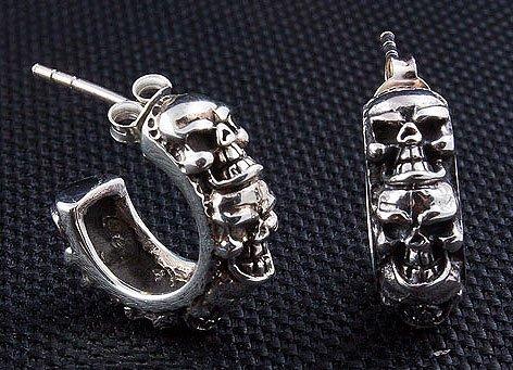 - Multi-skull .925 Sterling Silver Men's Earrings