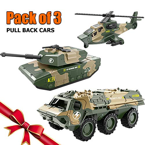 (BooTaa 3 Pack Car Toys, Army Toy, Pull Back Vehicles, Tank, Helicopter, Armored Vehicle, Military Vehicles Toys,Pull-Back and Go Cars,Pullback Racing Cars Pack, for)
