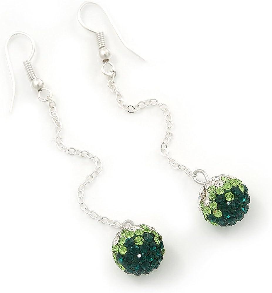 Pendientes de gota con cadena de bolas de diamante verde esmeralda en chapado en plata, 10 mm de diámetro y 6,5 cm de longitud