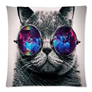 "BESTER Customized Home Fashion Galaxy Hipster Cat Wear Color Sunglasses Zippered Cotton 18""x18"" Two Sides Pillowcase Pillow Case Cover"