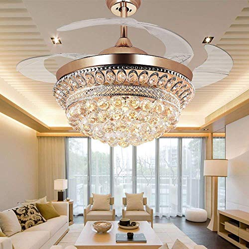 RS Lighting Chandelier Ceiling Fan Light with Remote Control and Transparent Blades 3 Varied Light Colors Ceiling Fans 42 inch for Indoor, Outdoor, Living Room, Corridor, Dining Room Light (Gold-03)