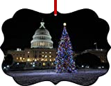 United States Capitol-Washington D.C.-on Christmas Eve-Benelux Aluminum Christmas Ornament with a Red Satin Ribbon/Holiday Hanging Tree Ornament/Double-Sided Decoration/Great Unisex Holiday Gift!