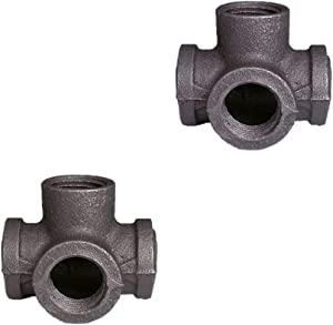 GeilSpace 4-Way, Malleable Iron Pipe Fittings - Vintage DIY Industrial Shelving, Industrial Decor, Furniture DIY (3/4