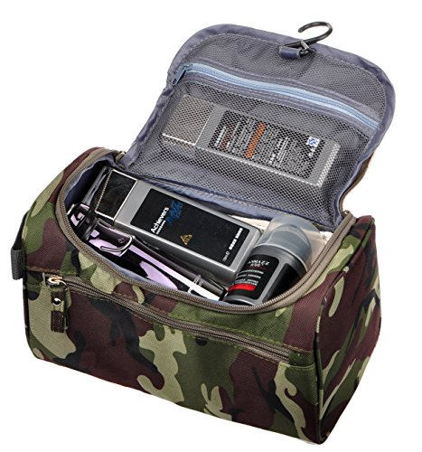 Vercord Mens Toiletry Bag Wash Travel Small Shaving Dop Kit Shower Bathroom Ditty Hygiene Bag Camo Dark Green ()