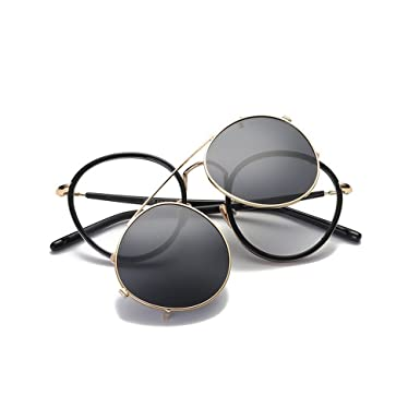 8768b18bb4 Amazon.com  MINCL Retro Round Tr90 Frame Polarized Sunglasses Clip on Flat  Eyeglasses Men Women (black-gold)  Clothing