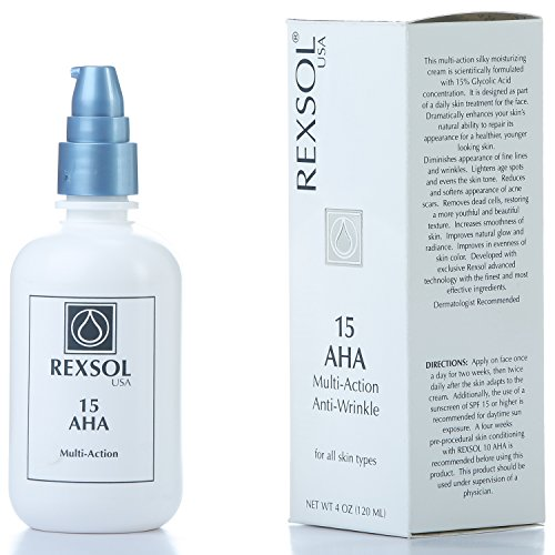 (REXSOL 15 AHA Multi-action Anti-Wrinkle Cream | With Vitamin E, Algae Extract, Ginseng Extract, Calendula Extract, Caviar Extract | Diminishes appearance of fine lines & wrinkles ( 120 ml / 4 fl oz ))
