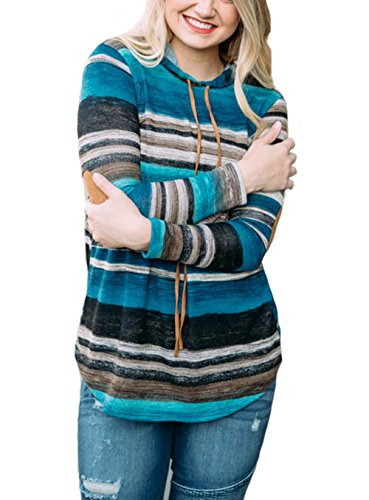 - Xinglan Women Casual Elbow Patch Long Sleeve Drawstring Tops Stripe Cap Hoodie Pullover Sweatershirt Blue-S