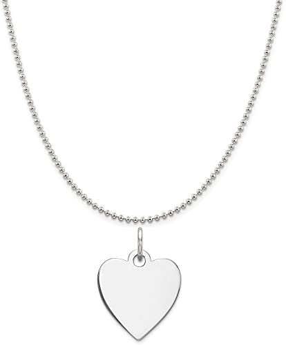 Sterling Silver Engraveable Heart Polished Disc Charm