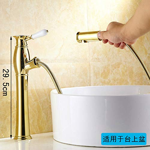 The gold Plus High) Hlluya Professional Sink Mixer Tap Kitchen Faucet All copper pull hot and cold golden basin faucet antique table basin table telescoping faucet, exclusive of the gold standard