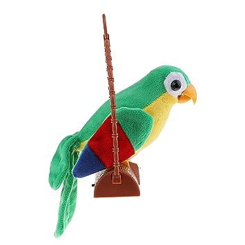 SM SunniMix Juguete Eléctrico de Peluche Pájaro Loro Hablando Repitiendo Adornos Ornamento Decorativo Regalo - Verde