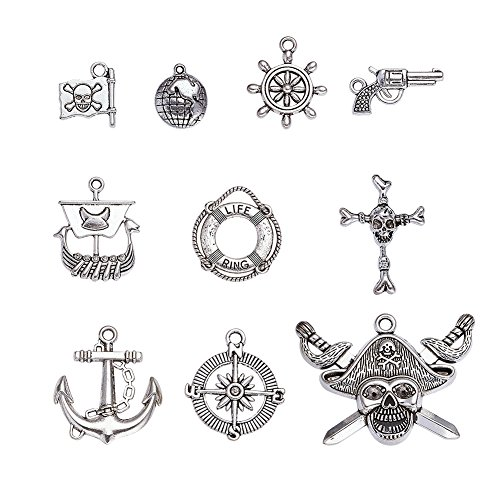 Kissitty 2 Sets Mixed Style Antique Silver Pirate Theme Pendants Anchor Compass Gun Flag Cross Buoy Wheel Charms One-sided 10pcs/set for DIY Jewelry Making (Skull Charm Pirate)