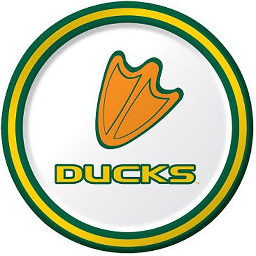 Round Oregon Ducks - 8-Count Round Paper Dessert Plates, Oregon Ducks