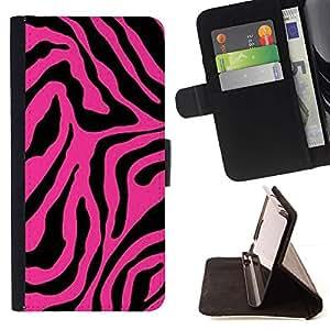 For HTC One A9 Case , Rosa Negro Patrón de piel animal abstracta- la tarjeta de Crédito Slots PU Funda de cuero Monedero caso cubierta de piel