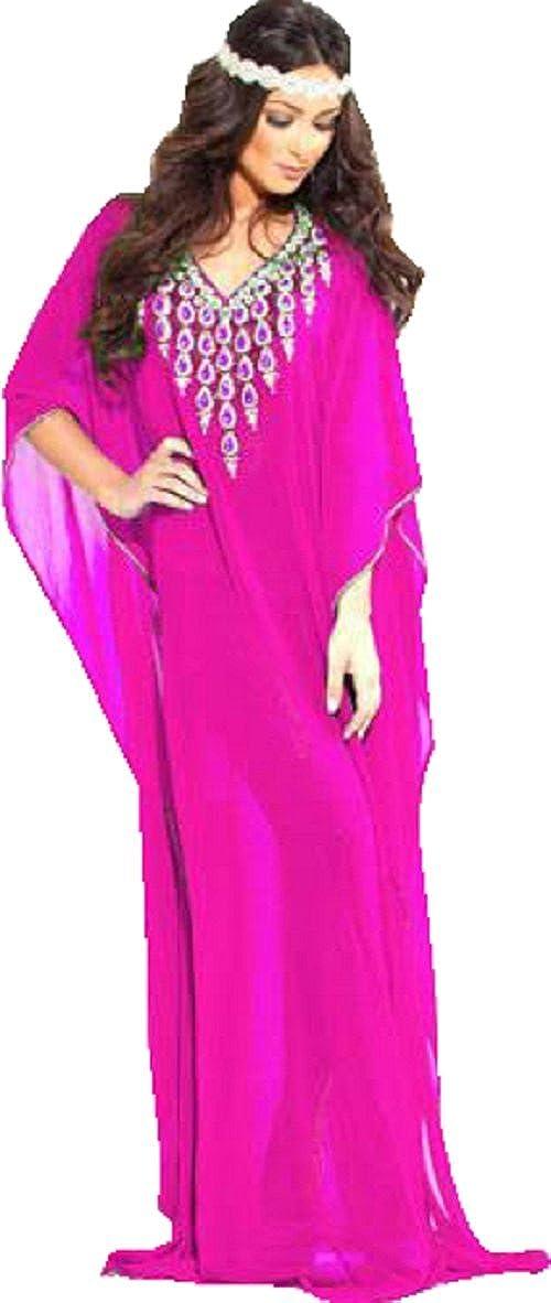 87e7fd6a12 Moroccan Kaftan Summer Beach Dresses Light Floor Length Caftans Plus size  Fashion Available (44, Magenta): Amazon.co.uk: Clothing