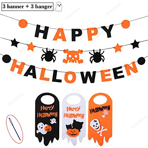 Happy Halloween Banner Set + Door Hanger, 3 PCS Skull Spider Happy Halloween Felt Bunting Garland Decoration Prop, 3 Pumpkin Welcome Door Hanging Sign, Indoor House Decor Kids Party Supplies -