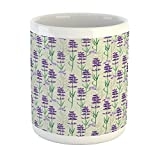 Ambesonne Lavender Mug, Botanical Pattern with Fresh Herbs Aromatherapy Spa Theme, Printed Ceramic Coffee Mug Water Tea Drinks Cup, Pale Sage Green Violet and Green