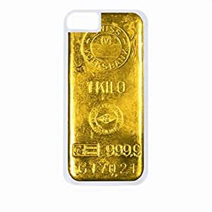 1 Kilo Bar of 24 Carat Gold - Case for the Apple Iphone 5C-Hard White Plastic Outer Shell with Inner Soft Black Rubber Lining