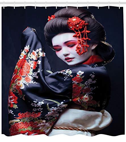Lunarable Japan Shower Curtain, Young Pretty Geisha in