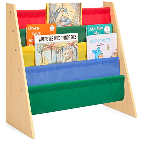 Book Display Wood - Best Choice Products Kids Bookshelf Toy Storage Rack w/Fabric Sleeves - Multicolor