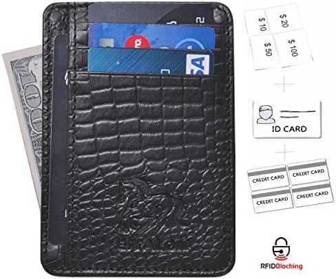 Estalon Genuine Leather RFID Blocking Credit Card Holder Case, Minimalist front Pocket Slim Wallet With ID Window