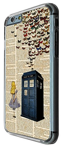 477 - Vintage News alice in wonderland Doctor Who Tardis Call Box butterflies Design iphone 6 / 6S 4.7'' Hülle Fashion Trend Case Back Cover Metall und Kunststoff