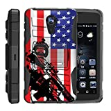 TurtleArmor | ZTE Uhura Case | ZTE Ultra Case | ZTE Quest Case | N817 [Hyper Shock] Armor Hybrid Hard Shell Stand Silicone Holster Belt Clip War and Military Design - American Soldier