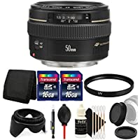 Canon EF 50mm f/1.4 USM Standard Lens for Canon SLR Cameras - Fixed Lens with Essential Accessories