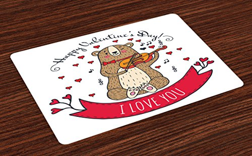 (Ambesonne Valentines Day Place Mats Set of 4, Teddy Bear with Violin Made with Love Romantic Music Notes Heart I Love You, Washable Fabric Placemats for Dining Room Kitchen Table Decor, Red Brown)