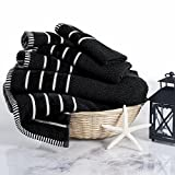 Combed Cotton Towel Set- Rice Weave 100% Combed Cotton 6 Piece Set With 2 Bath Towels, 2 Hand Towels and 2 Washcloths by Castle Point- Black