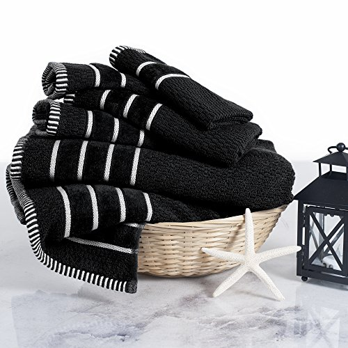 Combed Cotton Towel Set- Rice Weave 100% Combed Cotton 6 Piece Set With 2 Bath Towels, 2 Hand Towels and 2 Washcloths by Castle Point- Black by Castle Point