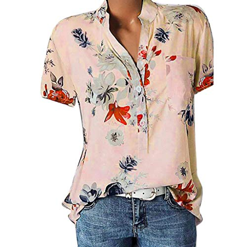 Graceful Porcelain - vermers Womens Plus Size Blouses Casual Floral Printing Pocket Short Sleeve Button Shirts Easy Tops T-Shirt(5XL, Pink)