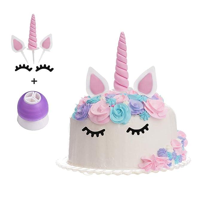 KAISHANE unicorn Cake Topper Cuerno, Orejas y Pestañas,Feliz ...
