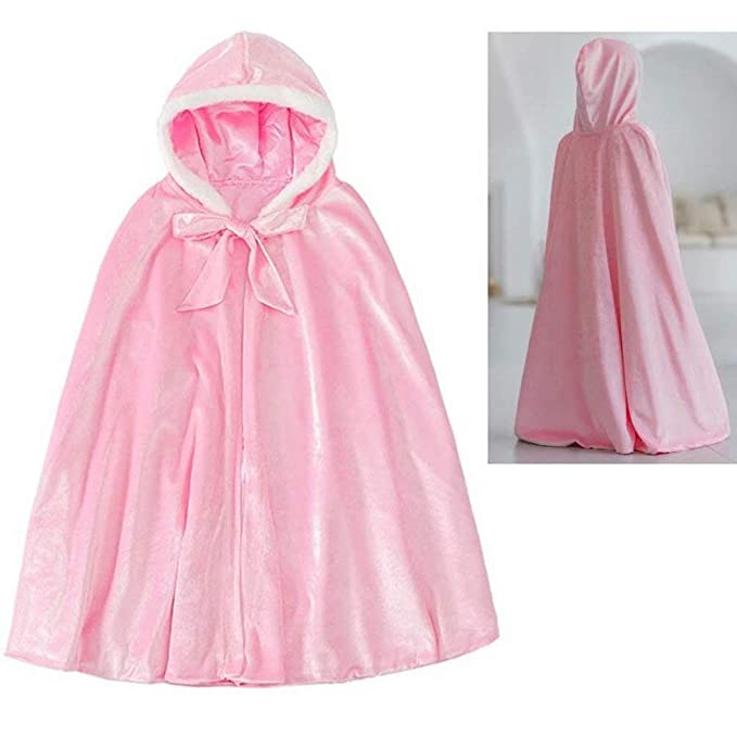 Princess Girl Costume Cosplay Fur Hooded Cape Fancy Dress Halloween Party Cloak