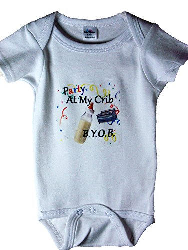 (Party At My Crib - Funny Baby Onesie Style Romper Size 0-6 Months)