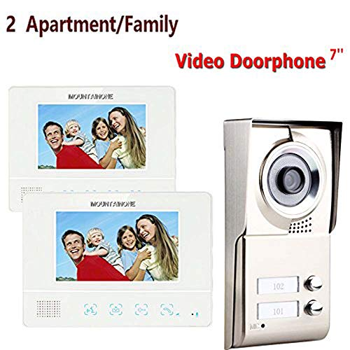 (MOUNTAINONE 2 Apartment/Family Video Door Phone Intercom System 1 Doorbell Camera with 2 button 2 Monitor Waterproof SY811WMC12)