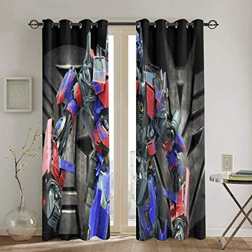 Meroy Fowler Transformers Optimus Prime Blackout Curtain Set-for Decoration Living Dining Bedroom Top Insulation Compartment Bedroom Living Room Children s Room 3D Printing-52in W X 72in L 1Pair