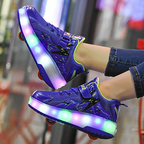 Light Shoes Blue Sources up Wheeled Roller Skate Rechargeable Boys two Sneakers Wheels Girls Chic LED aZxwIqpx