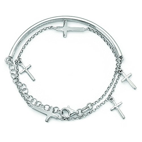 3mm Sterling Silver Polished Crosses With 2inch Ext. Wrap Bracelet by JewelryWeb