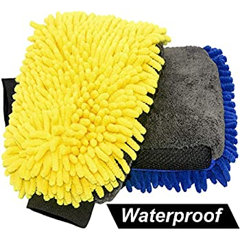 Lint Free/&Scratch Free OKAYC Microfiber Car Wash Mitt Premium Chenille Waterproof Cleaning Accessories Extra Large 2 Pack 2 Pack Extra Large Size Washing Glove