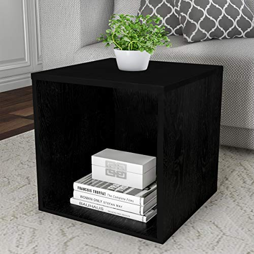 Cube Accent Table - Lavish Home 80-MOD-4 End Stackable Contemporary Minimalist Modular Cube Accent Table or Shadowbox for Bedroom, Living Room or Office (Black)