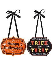 KINBOM 2pcs Halloween Hanging Signs, Trick or Treat Signs Happy Halloween Door Sign Home Decorations for Front Door Wreaths Indoor and Outdoor Hanging Supplies