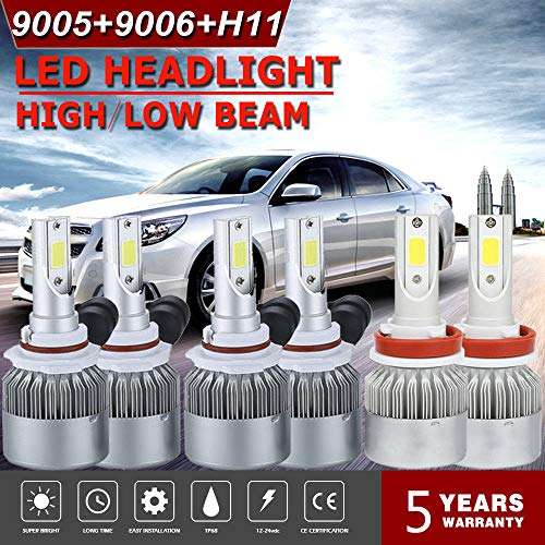 Areyourshop LED Headlight Kit 9005 + H11 + 9006 6000K 3900W 585000LM Combo Hi Low Bulbs from Areyourshop