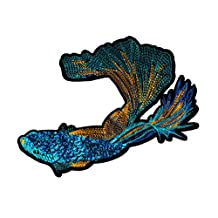 Beautiful XXL Beta Fish Embroidery and Sequins Shirt Patch 27cm - Cool Patches - Iron On - Hoodie - Jacket - Bag - Girly