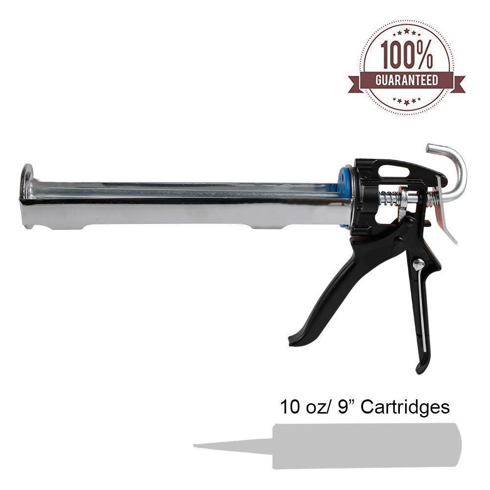 BIDE Manual Caulking Gun 10 oz Cartridge Smooth Flow Caulk Gun Kit No Drip With Heavy Duty Steel 360° Rotating Barrel