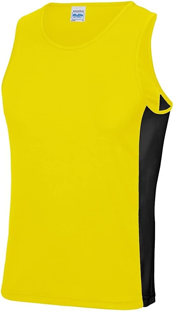 Mens Just Cool Contrast Panel Sports Vest Sleeveless Top Gym Running Sportswear