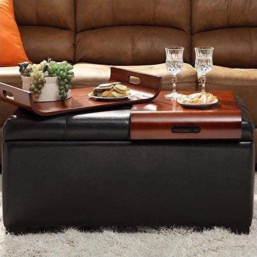 Amazon Com Convenience Concepts Designs4comfort Storage Ottoman With Trays Espresso Furniture Decor