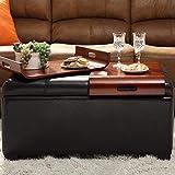 Leather Storage Ottoman with Tray Convenience Concepts Designs4Comfort Storage Ottoman with Trays, Dark Espresso