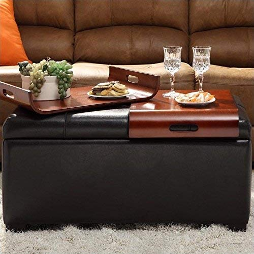 Convenience Concepts Designs4Comfort Storage Ottoman with Trays, Dark Espresso (Tray Ottoman With Lid)